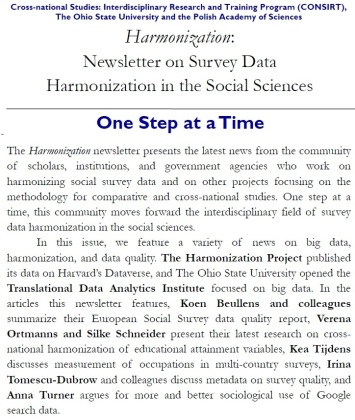 Harmonization Newsletter v3n1 Summer 2017 cover